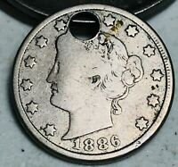 1886 Liberty V Nickel 5 Cents 5C KEY DATE High Grade Detail Holed US Coin CC4936