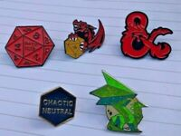 Dungeons & Dragons pin badges - backpack, lanyard, stranger things, D&D, geek