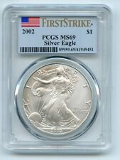 2002 $1 American Silver Eagle 1oz Dollar PCGS MS69 First Strike