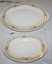 "HOMER LAUGHLIN EGGSHELL NAUTILUS 1940'S OVAL SERVING PLATES 6 1/8""X9 11 1/2'X9'"
