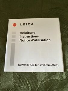 Leica Instructions For Summicron-m
