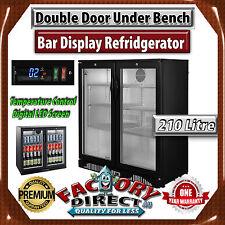 210 Litre Double Door Under Bench Display Bar Cooler Beer Fridge Refrigerator