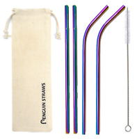 Mix 4 Pack [2 Bent & 2 Straight] Stainless Steel Metal Straws Gift Reusable