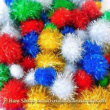 Glitter Pom Poms, Crafts 30pcs Assorted Colours & Sizes