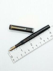 """Vtg black """"Shisei"""" eyedropper valve fountain pen - f 14k S.S.S. nib - Japan"""