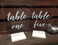 Clear Acrylic A5 Wedding Table Numbers / Names with Wooden Stands. Personalised