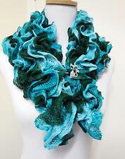 SHORT WRAP LADIES' & RHINESTONE SHAWL PIN WITH KITTY CAT, TEAL TONES - 8828