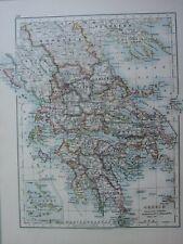 1913 Mappa Grecia Cyclades Morea Messenia Arcadia Corinthia Atene Aegina