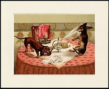 DACHSHUND NAUGHTY DOGS AND PURFUME SPRAY LOVELY DOG PRINT MOUNTED READY TO FRAME