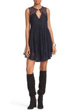 Free People Womens Don't You Dare Black Metallic Lace Mini Party Dress M