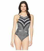 La Blanca Black Maori Tribe Hi Neck One Piece Swimsuit Women's Size 16 4519