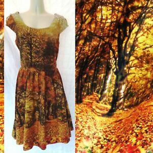 Modcloth Retrolicious Fall Autumn Trees Leaves Fit & Flare Swing Dress Sz Medium