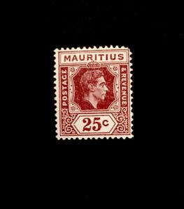 MAURITIUS SG259 1938 25c BROWN-PURPLE MTD MINT