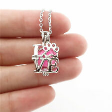 -K642 I Love Bead Locket Cat Kitten Footprint Pearl Cage Perfu Diffuser Necklace