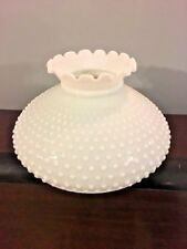 "Antique White Hobnail Milk Glass Large 12"" Hanging Parlor Oil Kero Lamp Shade"