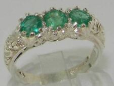 Luxury 9ct White Gold Ladies Emerald Trilogy Eternity Band Ring