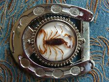 NEW HANDCRAFTED GOLDEN SCORPION HORSESHOE SILVER METAL  BUCKLE WESTERN COWBOY
