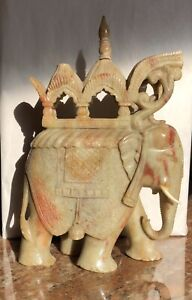 """VINTAGE RARE Soapstone Large Hand Carved Howdah Indian Elephant, 9.5"""" Tall, MINT"""