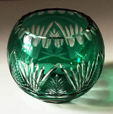 BOHEMIAN CZECH Green Cut to Clear Crystal Glass ROSE BOWL VASE, MINT!