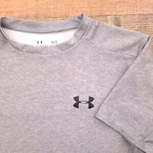 Men's HeatGear Under Armour Compression Sz Large Gray Grey Gym Running Workout