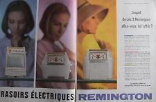 PUBLICITÉ DE PRESSE 1962 RASOIRS ÉLECTRIQUES REMINGTON - ADVERTISING