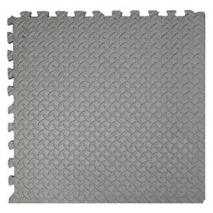 "Xspec 3/8"" Thick 100 Sq Ft Steel EVA Foam Floor Exercise Gym Mat 25 pcs, Grey"