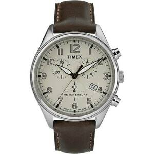 Timex Men's Watch Waterbury Chronograph Cream Dial Leather Strap TW2R88200
