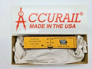 "HO SCALE ACCURAIL #8079.1 40' WOOD REEFER ""DECKER"". NEW,COMPLETE, UNBUILT KIT"