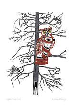 Copper Tone Owl Richard Shorty Art Card Northern Tuchone Yukon Native