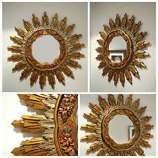 Espejo vintage sol madera policromada wooden mirror mid century sun sunburst