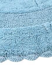 Bath Rug Cotton 36 Inch Round, Reversible, Arctic Blue, Crochet Lace Border