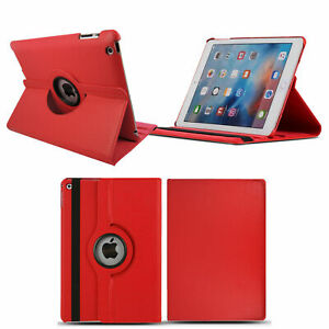 Leather 360 Rotating Smart Case Cover For Apple iPad AIR 2 RED