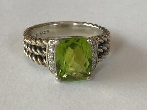 David Yurman Petite Wheaton Ring Peridot & Diamonds Size 6.5 August Birthstone