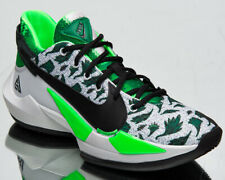 Nike Zoom Freak 2 Naija Men's Pure Platinum Black Green Low Basketball Sneakers