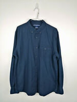 Vintage Mens Old Navy Shirt Size L Dark Blue Long Sleeve 100% Cotton Button Up