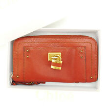 Chloe Wallet Purse Long Wallet Orange Gold Woman Authentic Used Y3286