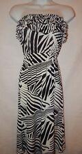 Dress Cristina Love M Midi Black White Abstract Zebra Print Stretch Tube D134
