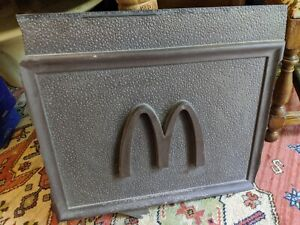 MCDONALD'S STORE BUILDING PLASTIC SIGN ADVERTISING 24X21 M ARCHES BROWN VTG