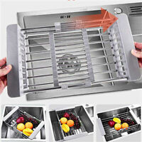 Dish Draining Rack Stainless Steel Plates Drainer Kitchen Sink Drying Holder