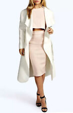 Long Oversize Belted Waterfall Coat in Cream (RRP £44.99)