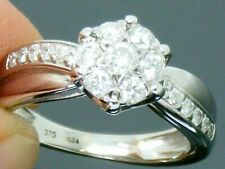 9ct Gold 0.50ct Diamond Cluster Engagement ring size K