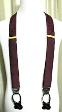 """CAS RED WOVEN 100%SILK BROWN LEATHER ELASTIC BUTTON Y-BACK 1.5"""" SUSPENDERS (47M"""