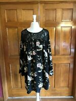 Entro Black Floral Above Knee Long Sleeve Dress Large