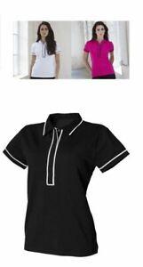 Ladies Contrast Trim Stretch Short Sleeve Polo Shirt T-shirt Top SK048