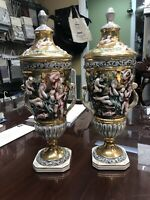 """capodimonte 16"""" Urns  Gold Plated Signed & Numbered 1366/122. Very Rare Mint"""