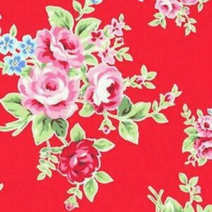 Cottage Shabby Chic Lecien Flower Sugar Floral 30841L-30 Red Cotton Fabric BTY