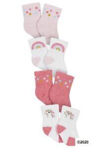 Gerber Baby Girl 4-Pk Organic Cotton Rainbow Unicorns Socks Size NB Wiggle Proof