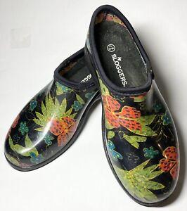 Sloggers Garden Clogs Waterproof Lug Sole Comfort Insole Summer Black Women 11M