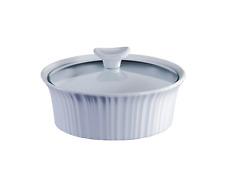 Corningware 1.5 Qt. Round Ceramic Casserole Baking Dish w/ Glass Cover Bakeware