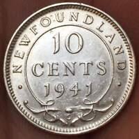 1941-C Newfoundland 10 Cents .925 SILVER **AU*** PRE CANADA EXCELLENT TONED COIN